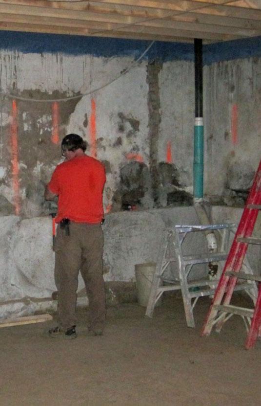 Preparing basement lowering stages