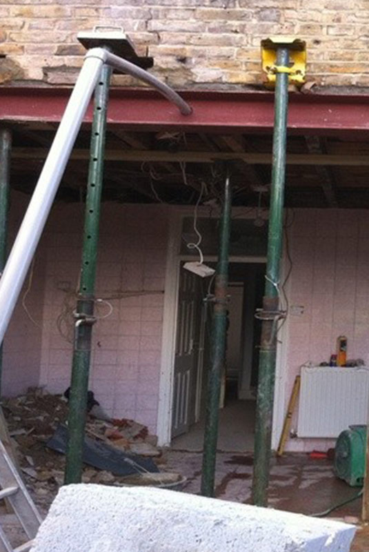 Structural Steel Beam and Post Installation in Basement